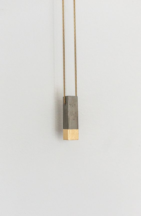 Kette Anhänger minimalistisch Gold Beton  [P1] 24k