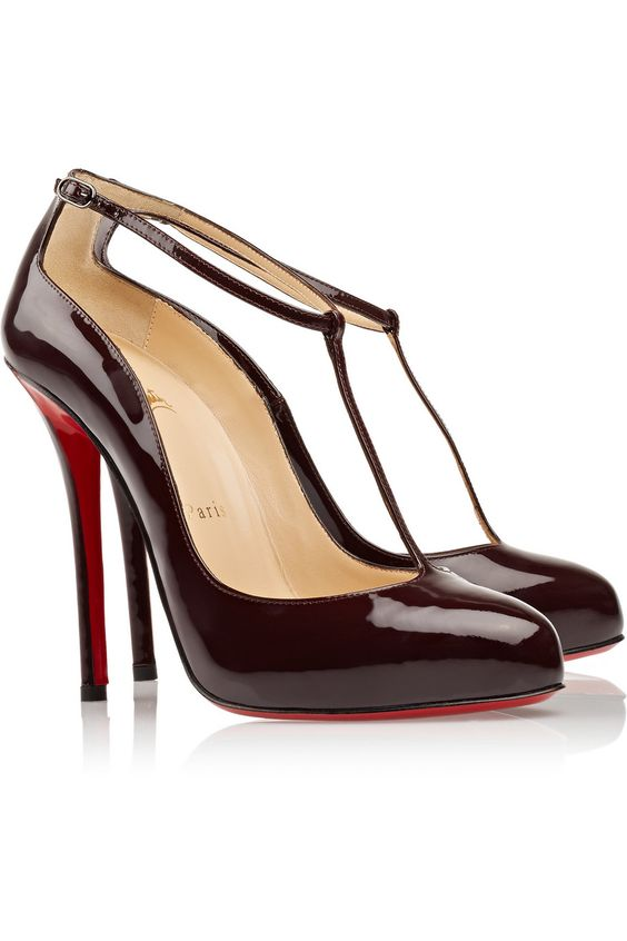 fake red bottom shoes - christian louboutin patent leather perforated pumps, christian ...