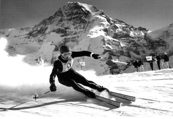 One of the best alpine ski racers of the 1960s, the Austrian Karl Schranz, racing at the Lauberhorn, Bernese Alps, Switzerland, 1966.