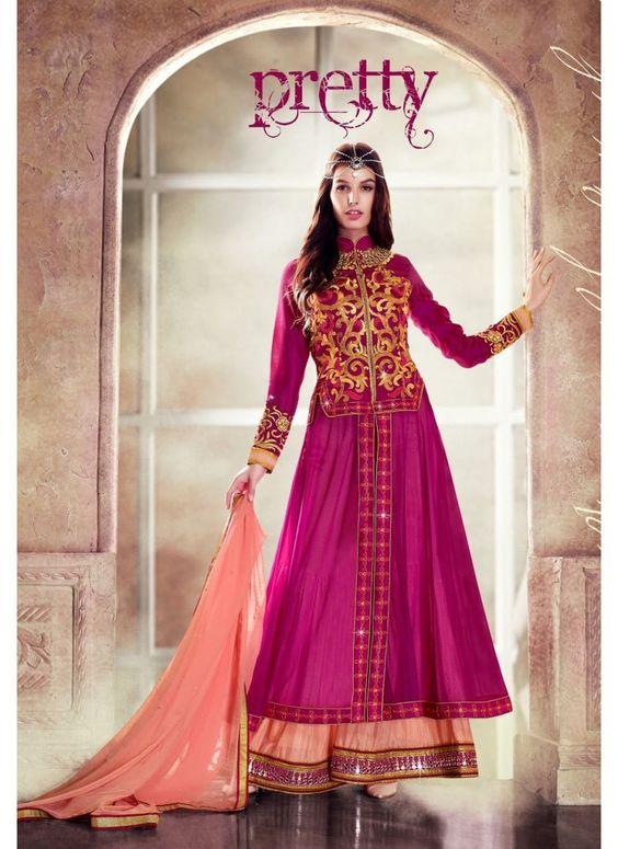 Anarkali Couleur Magenta Style Abaya Pakistani Robe en Filet
