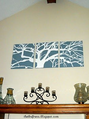 DIY canvas art... Maybe with wood panels if can't find cheap canvases? I have a projector...