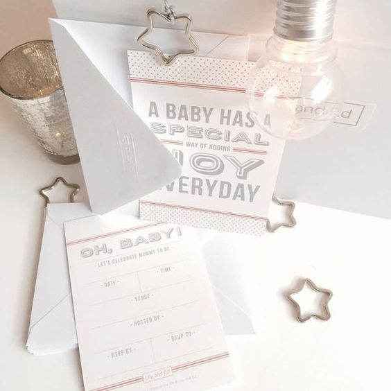 The perfect way to start your baby shower, invitations will add a touch of elegance and set the tone for your baby shower. Available in blush pink in packs of 8, 12, 16 or 20.