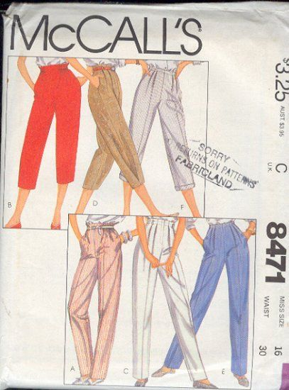 McCall's+Sewing+Pattern+8471+Pants,+Six+variations,+Size+16