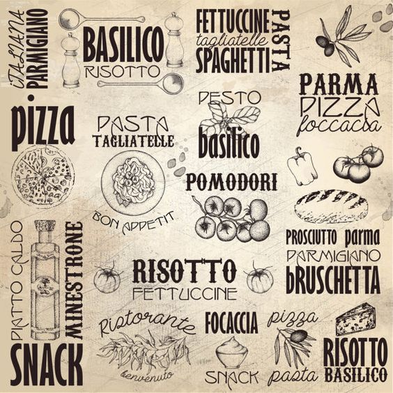 Kitchen Print -Italy Menu-Italian Subway Art-Pizza-Pasta - italian menu
