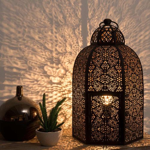 lampe santal aus ziseliertem metall mit rosteffekt h 50 cm balkon garten pinterest. Black Bedroom Furniture Sets. Home Design Ideas