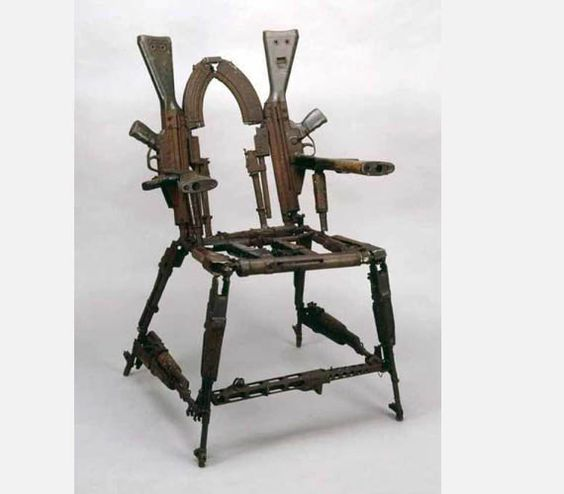 Chair made out of Assault Rifles.