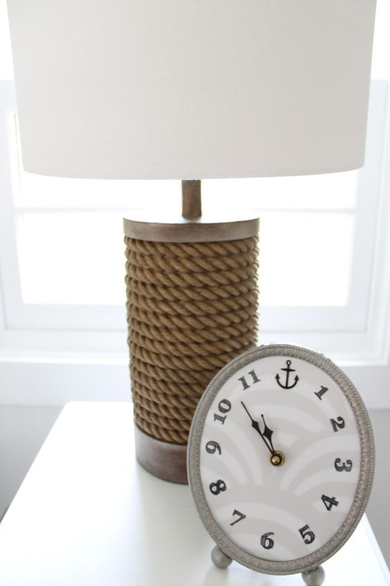 Nautical Rope Lamp and Clock Nursery Accents:
