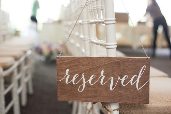 PRODUCT INFO: Reserved hanging chair sign. - Each sign measures approximately 11x5.5  - Small drilled holes in top corners with hemp string for