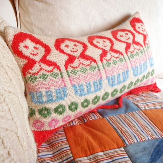 dolly mix small fairisle knitted cushion soft shades by clovaknits