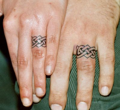 Finger ring tattoo designs celtic rings by tattoozagreb for Mens wedding band tattoos