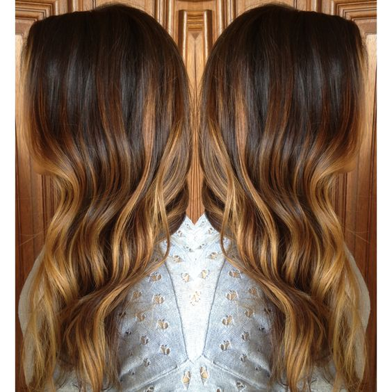 Caramel Sombre Highlights over long layered brunette curls. StyledByKate at Mecca Salon.