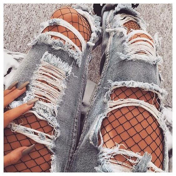 30+Grunge Outfits Ideas Wear Fishnet Tights Under Ripped Jeans or Denim u2013 Lupsona
