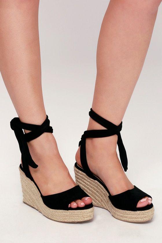 Kaila Black Lace-Up Espadrille Wedges