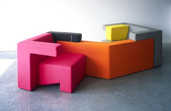 The blocky styling of the To Gather series of furniture is more than just a little reminiscent of the famous puzzle video game Tetris! The modular sofa engages the user with individual elements that can be pieced together to form countless seating combinations that will never get old.
