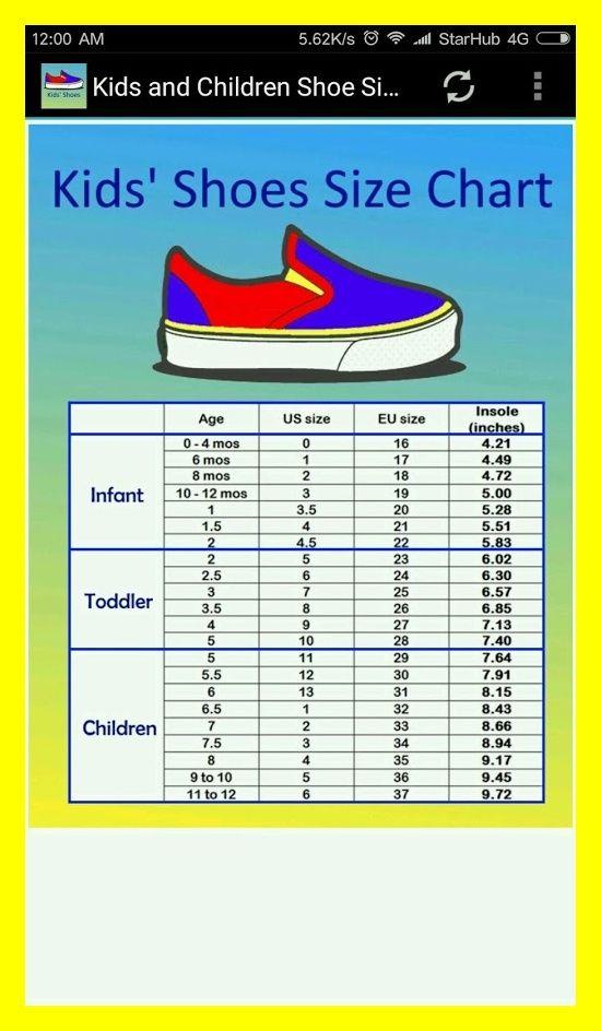 Toddler shoe size chart, Baby shoe sizes