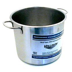 "The Vollrath Company 11 1/2 Quart Stainless Steel Stock Pot (12-0165) Category: Stock Pots by The Vollrath Company. $111.99. Sold Individually. Item #: 12-0165. Solid weight stainless steel handles for durability and easy cleaning. 18-8 stainless steel. Features arc-sprayed aluminum bottom to distribute heat evenly. NSF. Capacity: 11.5 Qt.Depth: 8 7/8""Gauge: 20Diameter: 10 3/8""Lid sold separately Customers also search for: Restaurant Supplies\Kitchen Supplies\Coo..."