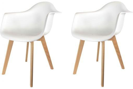 Lot de 2 chaises scandinaves avec accoudoir blanches ORKNEY