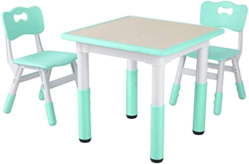New Lazy Buddy Kids Study Table Chairs Set Height Adjustable Plastic Children Art Desk 2 Seats Activity Toddler Furniture Gift Boys Girls Paintable Deskt In 2020 Study Table And Chair Kids