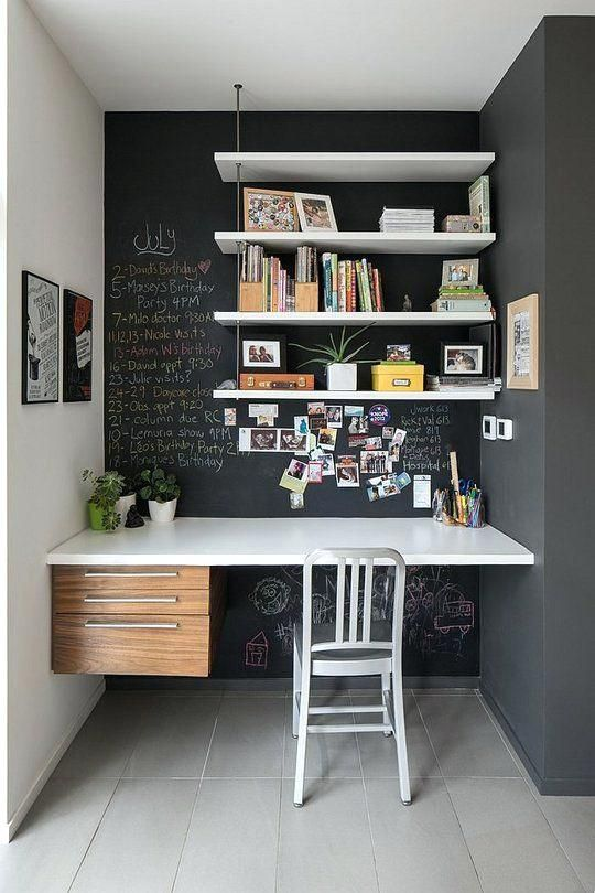 Study Desk Ideas For Small Spaces A Chalkboard Nook With Floating Shelves And A Floating Desk With Contemporary Home Office Home Office Decor Small Home Office