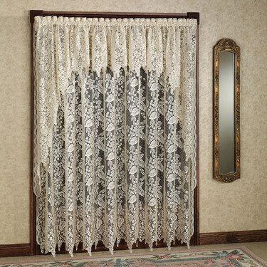 Ooohh i love the lacy old fashioned window treatments for Old world curtains and drapes