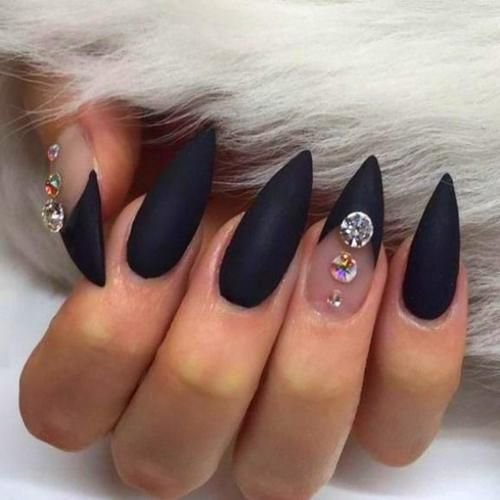 Halloween Nails In 2020 Black Nail Designs Black Stiletto Nails Halloween Nail Designs