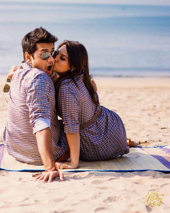 The 'gotcha surprise kiss' shot! | Zowed #zowed #indianwedding #indianbride #prewedding #preweddingideas #preweddingshoot