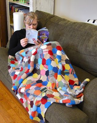 wool quilt made from felted sweater scraps - tutorial