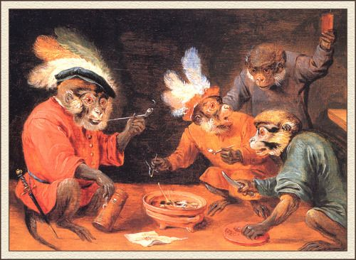 """Monkey Tavern"" David Teniers the Younger (Flemish, 1610-1690)"