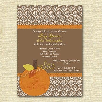 Damask Autumn Pumpkin Baby Shower Invitation - PRINTABLE INVITATION D