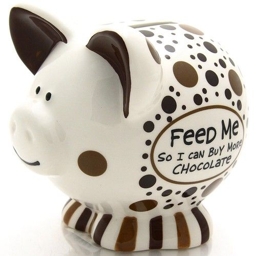 """Lovers of the sweet confection know all too well that a chocolate """"addiction"""" can be a very expensive habit. This adorable little piggy bank would be a most thoughtful gift for a favorite chocolate lover in need!"""