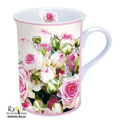 Tasse Mit Mohnblumen Auf Blauem Grund Mohn Mohnblume Blumen