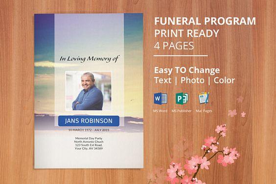 Funeral Program Template Memorial Program Template Editable - funeral program template microsoft