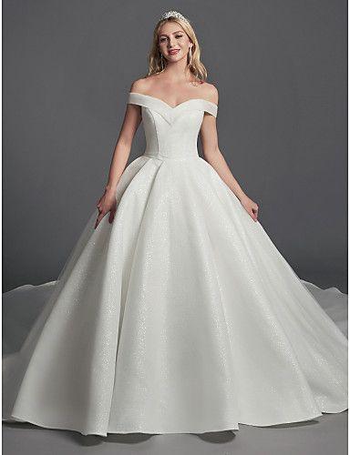 342 99 Ball Gown Wedding Dresses Off Shoulder Sweep Brush Train Organza Satin Sleeveless Glamorous Plus Size With Draping 2020 Wedding Dress Organza Ball Gowns Online Wedding Dress