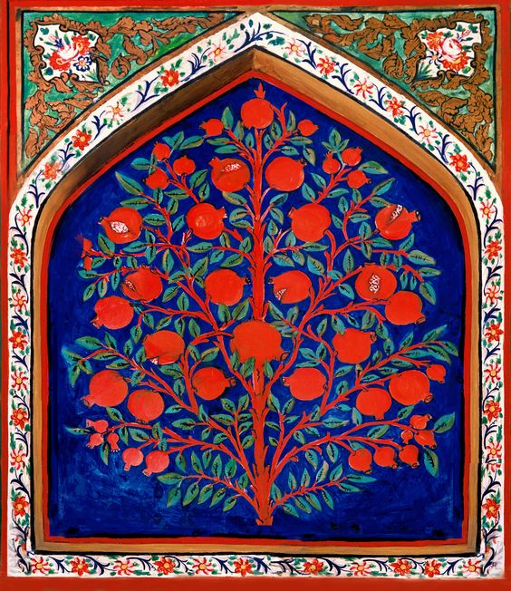 Pintura del siglo XVII del Árbol de la vida en el Palacio de Shaki Khans, Azerbaiyán