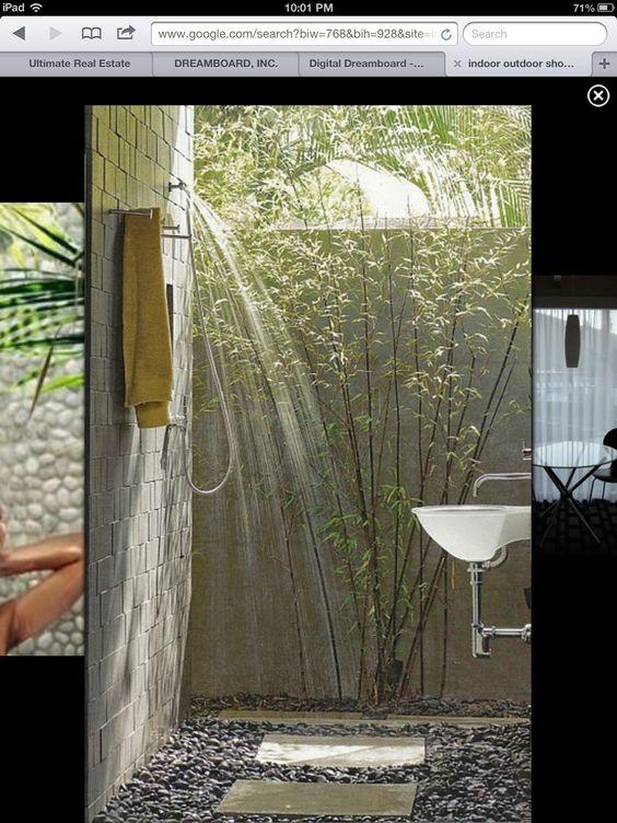 Outdoor showers indoor outdoor and indoor on pinterest for Indoor outdoor shower