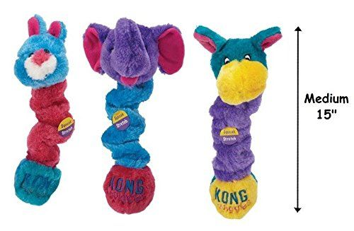 Squiggles Dog Toys Colorful Plush Stretchy Squeakers Characters