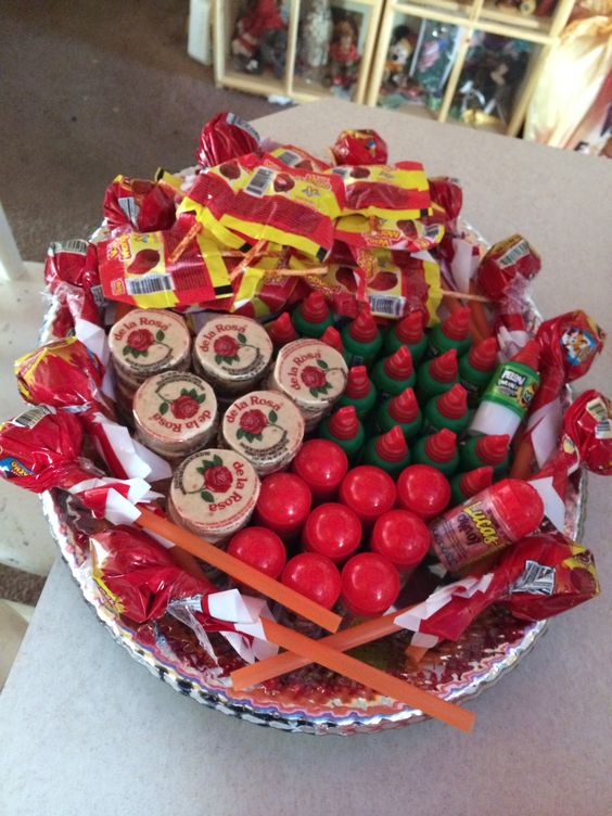 La charrola de antojitas. Mexican candy platter. Perfect for my Mexican themed party.