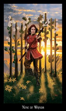 Nine of Wands In the Past position A card in the left position indicates what has happened to affect your question in the past.  Meaning: When the Nine of Wands turns up in a reading, it is a notice to be on guard against trouble, mischief, gossip, and baneful magicks. Now is the time to be alert to trouble and be vigilant with protecting yourself and your professional or magickal reputation.,