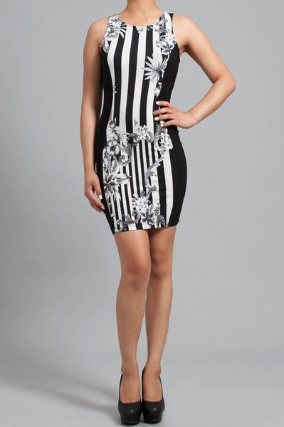 Catch Me If You Can: black and white stripe and floral bodycon dress  Find this at Dress World: one of the web's top online shop for trendy clubbin styles, fashionable party dress and bar wear, super hot clubbing clothing, partying clothes, super cute and sexy club fashions. MADE IN USA