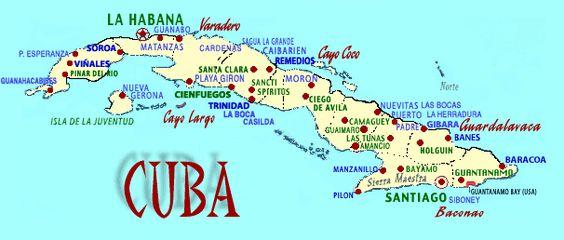 Mapa de Cuba — Haga clic sobre un lugar