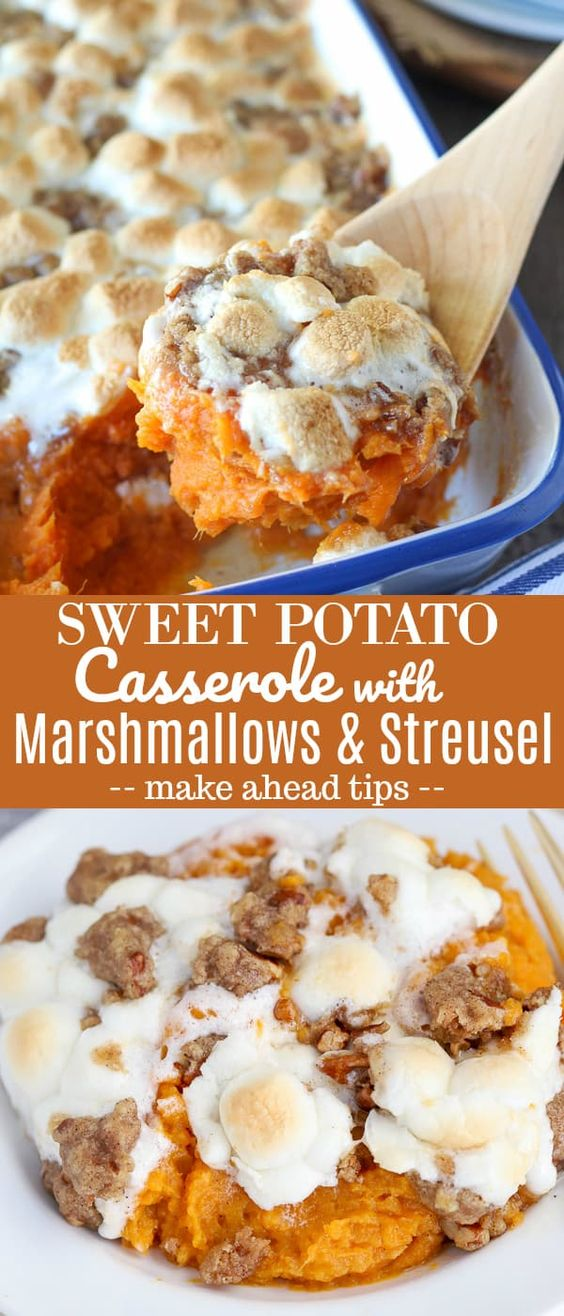 The BEST Sweet Potato Casserole with Marshmallows and Brown Sugar Streusel. The perfect side dish for Thanksgiving or any other holiday celebration. #sweetpotatoes #sweetpotato #thanksgiving #sweetpotatocasserole #marshmallows #streusel #sidedish