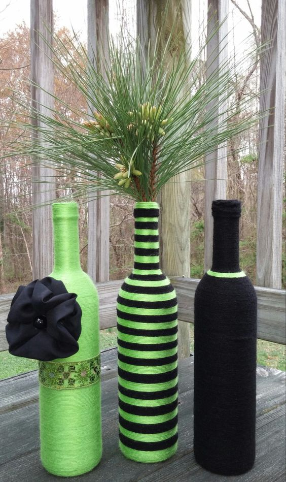 Lime Green Yarn bottles, vase Set, Flower Vases, Centerpieces, Home decor, home & Living, Yarn Art, Wedding Decor, Vases, Home decorating by SiminaBanana on Etsy: