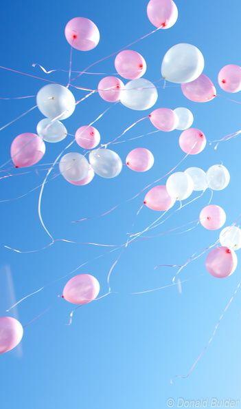 99 luftballons auf dem weg zum horizont die wei en und rosa luftballons mit helium gef llt. Black Bedroom Furniture Sets. Home Design Ideas