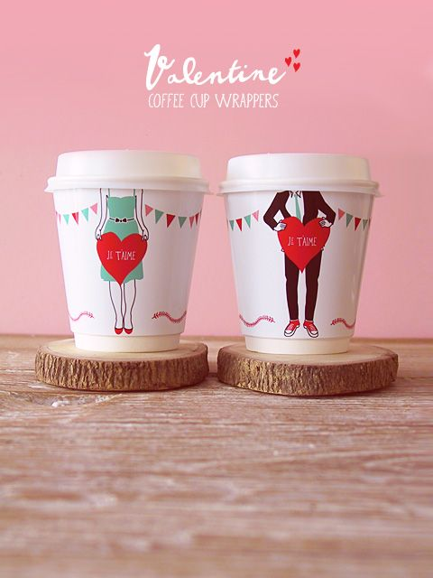 Valentine free printable coffee wrappers