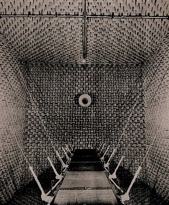 "Anechoic chamber at the Harvard Acoustics Research Laboratory. ""An anechoic chamber is also a kind of prosthesis, serving to eliminate sound reflections in a room.  Bell Labs built the first one, and Harvard's Acoustics Research Laboratory also built one."