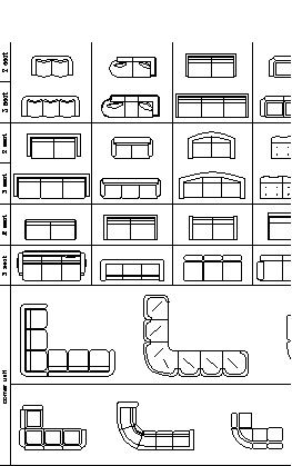 Furniture cad blocks sofas in plan view autocad for Muebles autocad