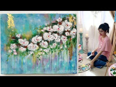 Paint Abstract Orchids With Me Relaxing Painting To Destress During Lockdown Youtube In 2020 Painting Abstract Beginner Art