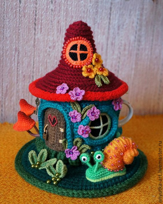 """Купить Грелка на заварник """"Цветочный домик"""" (с заварником) - грелка на чайник, грелка на кружку:"""