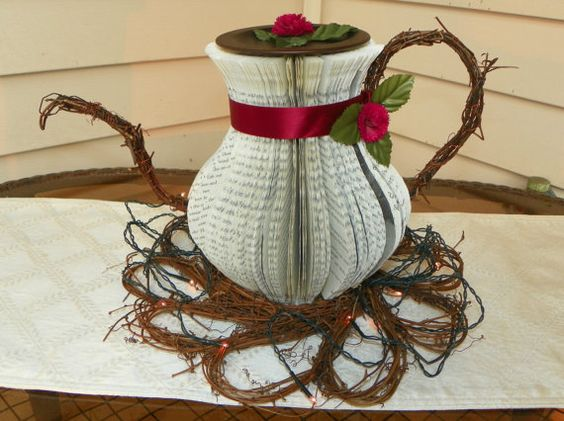 Teapot Centerpiece  Altered Book Art by BooksForLooks on Etsy, $50.00: