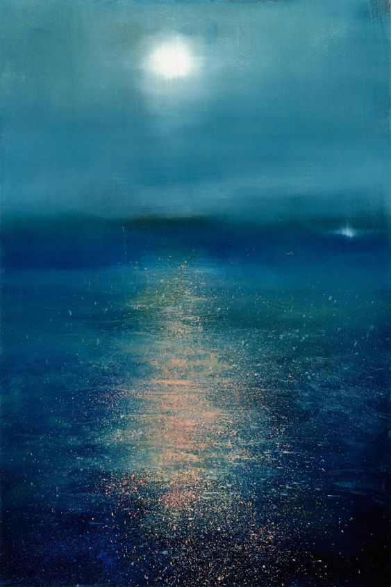 Buy Moonglow, a oil on Other by Maurice Sapiro from United States. It portrays: Abstract, relevant to: reflection, atmosphere, light, mist, moonlight Oil painting on panel, Framed Moonglow by Maurice Sapiro depicts the glittering effects of the full moon's reflection upon water. This piece features an illuminating palette of vibrant blue with pink highlights.